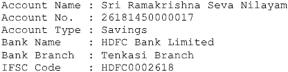 SRSN Bank Details for Donations